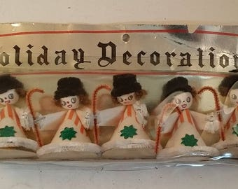 5 Vintage Elf / Gnome/ Pixie Ornaments, Spun Cotton Heads, Red, White Striped Cardboard Suits, Black Hats, Candy Canes - Holiday Decorations