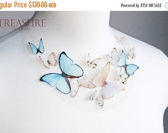 SALE Blue butterfly necklace, bridal butterfly necklace, bridal necklace, butterfly jewelry, butterfly wedding jewelry, prom jewelry, blue n