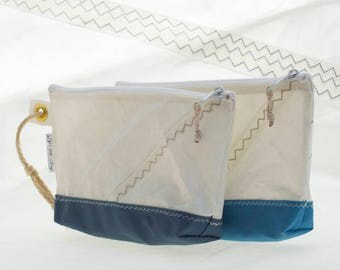 Recycled Sail, Wristlet clutch, evening bag, Sapphire & Sky blue