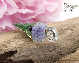 Blue flower - pendant Beads lampwork artisan implosion transparent - Charm with a large hole - 925 silver core