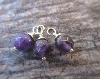 Faceted Amethyst Dangles, 6mm natural gemstones with sterling silver wire wrap. 3 dangles February birthstone charm, amethyst charm