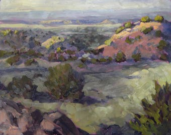 Morning Glow Across the Galisteo Hills - New Mexico - Original Oil Landscape Painting