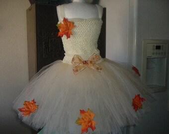 Fall Thanksgiving Ivory, Champagne Costume Flower Girl Tutu Dress