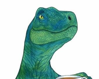 Watercolor Dinosaur Painting Tea Lover Gift Velociraptor Art Whimsical Animal Art Funny Kitchen Art Kitchen Wall Art Dinosaur Decor