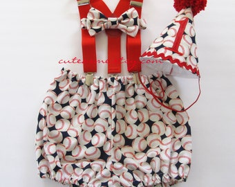 Cake Smash Outfit 1, 2, 3 or 4 Piece Set Baseball First or Second Birthday Outfit Diaper Cover Bow Tie Party Hat Suspenders Bloomers Sports