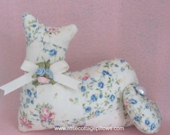 Cat Doll, Quilt Patchwork Cat, Pillow Tuck, Cottage Chic Cat, Pink and Blue Romantic Rose, Stuffed Cat
