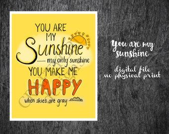 You are my sunshine, sunshine poster, nursery decor, nursery art, girls room, boys room, baby shower, kids room, yellow decor