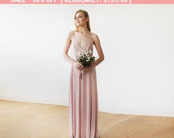 Pink Blush straps wrap gown, Bridesmaids maxi dress with slit, Blush maxi sexy dress 1060
