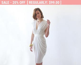 Short Ivory wedding dress, Wedding party dress, Rehearsal short formal dress 1007