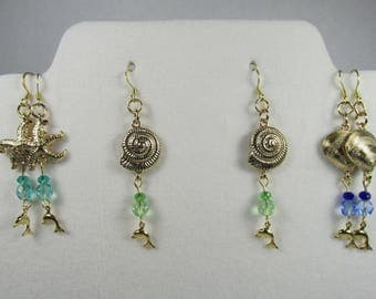 NAUTICAL Earrings Gold Long 3 Pair to Choose Starfish Shells Dolphins with Blues and Green 2 1/4 inches