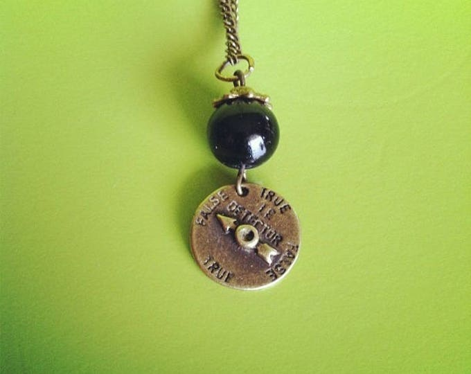 Black Pearl lies detector brass chain necklace