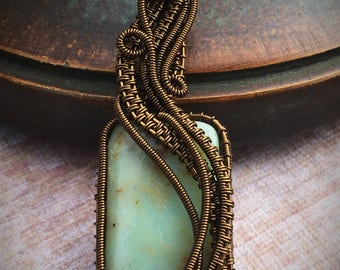Wire Wrapped Peruvian Opal