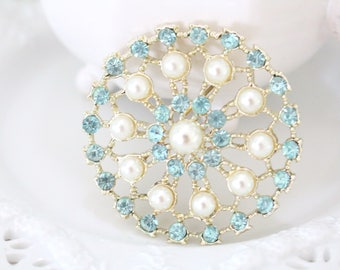 AQUA STONE BROOCH, Vintage Costume Jewelry Brooch, Aqua and Faux Pearls, Gifts for Her