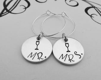 MR. and MRS. Champagne Glass Charms - Wedding Table Champagne Charms - Sweetheart Table - Wedding Favors - Wedding Table Decor
