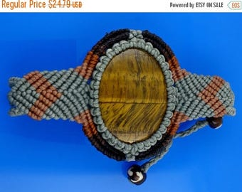 ON SALE Adjustable Woven Macrame Bracelet, Chatoyant Tiger Eye Gemstone, Free Shipping