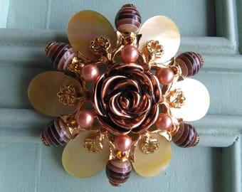 Flower beaded Joan Rivers brooch