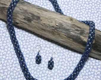 Beaded Rope Necklace Blue Rope Necklace Seed Bead Rope Bead Woven Necklace Beadwork Necklace Seed Bead Necklace Blue Beaded Necklace