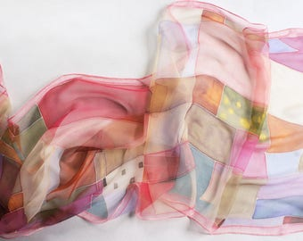 Pink chiffon scarf, hand painted silk, abstract scarf, art lover gift, women scarves, silk gift handmade - ready to ship