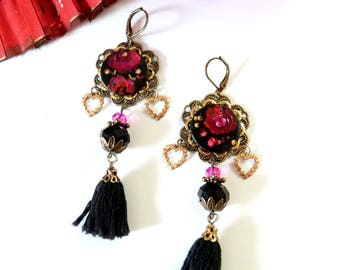 Bohemian earring,gyspy ,black,red,pink,painted wood,black pompon