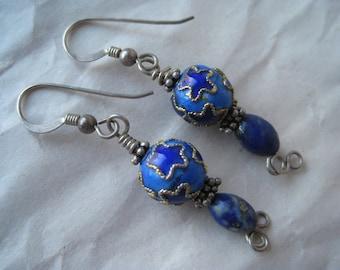 Blue Star Enamel Dangle Sterling Earrings Pierced Wire Silver Vintage 925