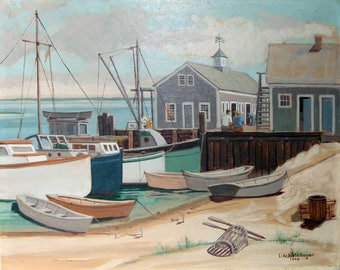 1948 Dock Scene, Fishing Boats, Original, Mid-Century, Oil Painting on Board, Signed, Superb Condition, Dean at Dartmouth College 1933-1952