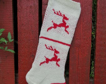 Christmas Stocking Personalized knit Wool StripesWhite  Cranberry Red with Tree Deer Snowflakes ornament