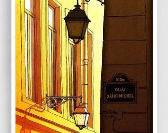 30% OFF SALE: Paris illustration - Quai Saint Michel (morning version) - Art illustration Prints Posters Architectural drawing Travel poster