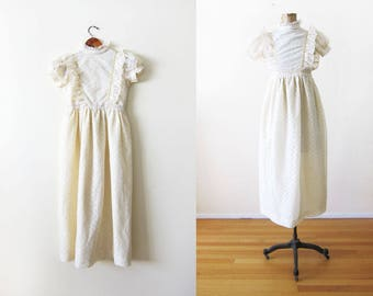 Vintage 60s lace dress - cream lace maxi dress - prairie romantic frilly lace dress - fairy kei dress - sweet lolita dress XS