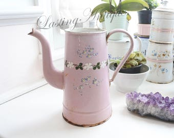 Antique French Enamelware Coffee Pot, c. 1890's, signed, hand-painted, Valentines Gift, Romantic, Etoile PEN,
