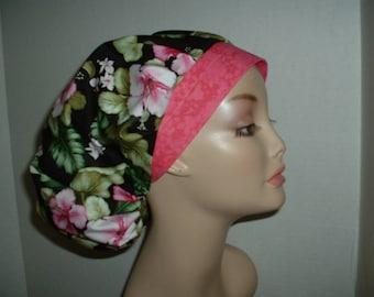 Hawaiian Black Pink Flowers Bouffant OR Surgical Scrub hat