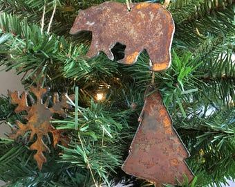 "Rusted Metal Winter Ornament Gift Set - SNOWFLAKE, TREE, BEAR - 4"" tall"