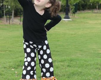 Fall Halloween Candy Corn Big Dots Ruffle Pants or Capris Girls Toddlers Baby Ruffle Pants