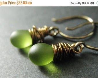 BACK to SCHOOL SALE Bronze Earrings - Frosted Green Dangle Earrings, Wire Wrapped Drop Earrings. Handmade Jewelry.
