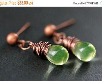 BACK to SCHOOL SALE Copper Earrings - Lemon Lime Earrings. Stud Earrings. Teardrop Dangle Earrings. Handmade Jewelry.