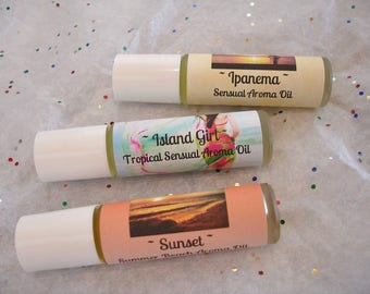 Roll On Aroma Oils - 21 Original Fragrance - Sensual Fragrance Oils - Summer Fragrances - Beach Fragrances - Fruit Oils Musk Oils Floral Oil