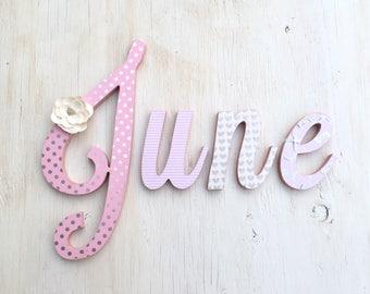 Girl's Room Letters Silver Pink - Baby Girl's Nursery Letters - Girl's Room Decor - Custom Wood Letters - Nursery Letters - Price Per Letter