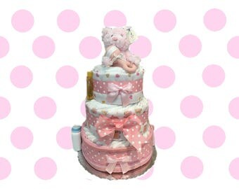 Pink and White Polkadot Baby Bear Baby Shower Diaper Cake Gift Set