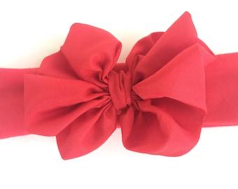 Red baby headband - red chiffon bow headband, baby headband, newborn headband, baby bow headband, baby girl headband, red headband