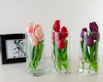Set of 3 Real Touch Yellow-Orange Red Purple Tulips Cylinder Glass Vase Faux Artificial Arrangement for Home Decor