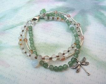 Three Strand Bracelet Gemstone Beaded Bracelet Dragonfly Green Aventurine Rock Crystal Sundance Style Jewelry Boho Chic Green and White Gift