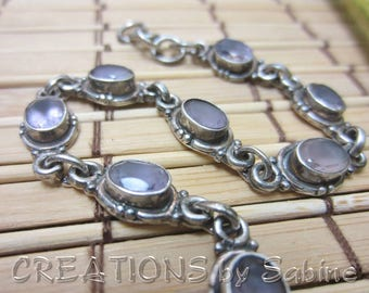 Silver Bracelet Pink Stones Silver Tone Metal Oval Stones Purple Hue Hook Closure Links Vintage FREE SHIPPING (662)