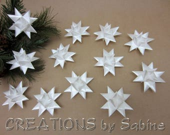Star Ornaments Set of 12 White Ribbon Stars Origami Decor Favors Unique Froebel Danish Simple Christmas Decoration READY TO SHIP (137)