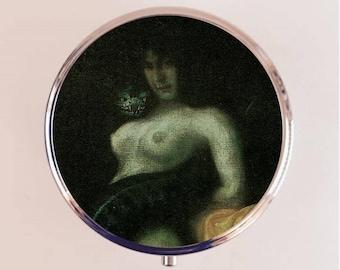 Snake Woman Pill Box Case Pillbox Holder Trinket Stash Box Franz Von Stuck Fine Dark Art Painting v2