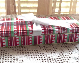 Vintage Rectangle Tin Box with White Ribbon Gift for the  Holidays