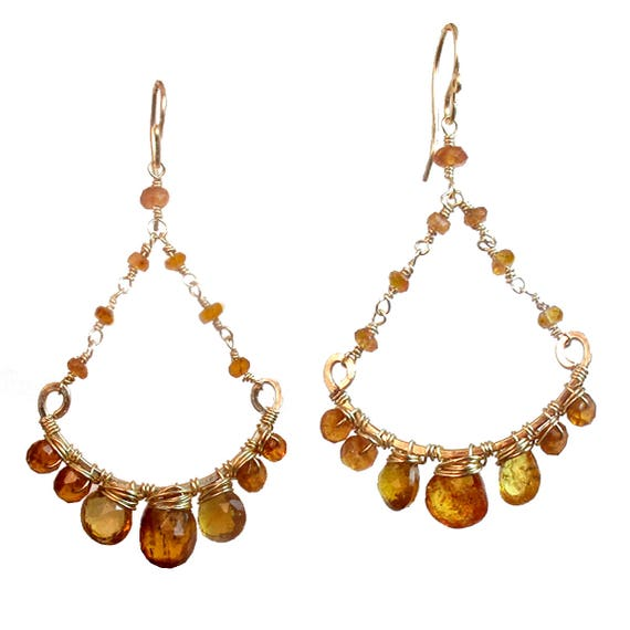 Mandarin Garnet Chandelier Earrings Venus 114