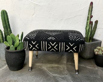 Mid Century Modern Mudcloth Ottoman | Modern Ottoman Black and White African Mud cloth footstool Bohemian Decor Boho Decor African Fabric