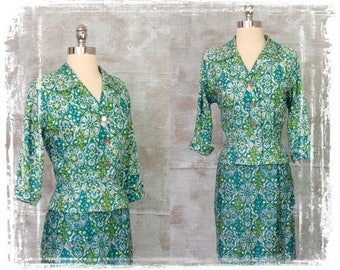 Vintage 1940s Dress, 2 Piece Dress, 1940s Jacket and Skirt, 1940s Suit, Small