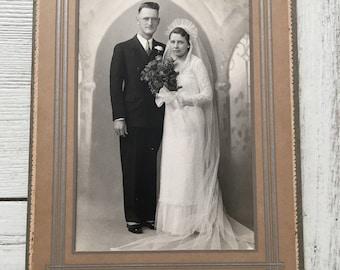 Vintage Wedding Photo Schnell Parkston SD Bride Groom