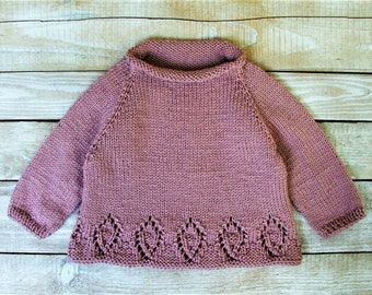 Baby Girls Sweater - Hand Knitted Baby Girls Clothes - Dusty Pink Roll-Neck Sweater Hand Knitted for Infant Girls Size 12 - 18 Months