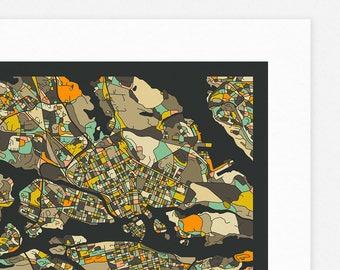 STOCKHOLM MAP (Giclée Fine Art Print, Photographic Print or Poster Print) dark version